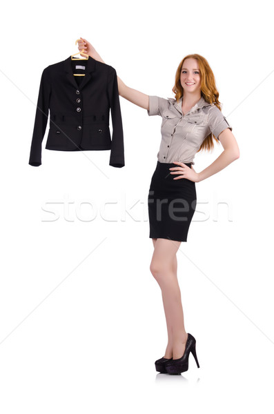 Woman choosing the dress isolated on white Stock photo © Elnur
