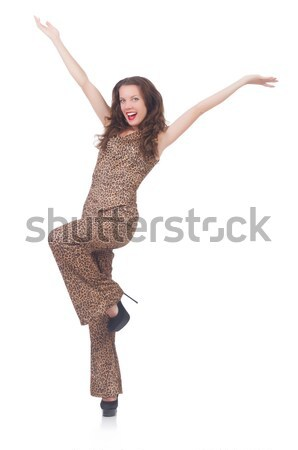 Young model in leopard prints suit isolated on white Stock photo © Elnur