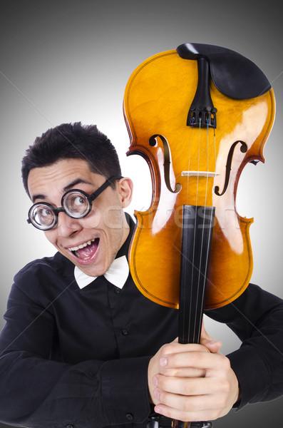 Engraçado homem violino branco soar masculino Foto stock © Elnur