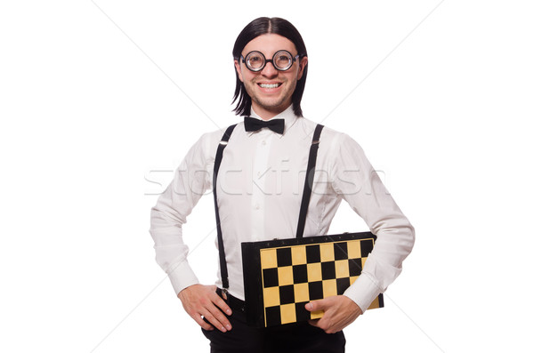 Funny man with chessboard isolated on white Stock photo © Elnur