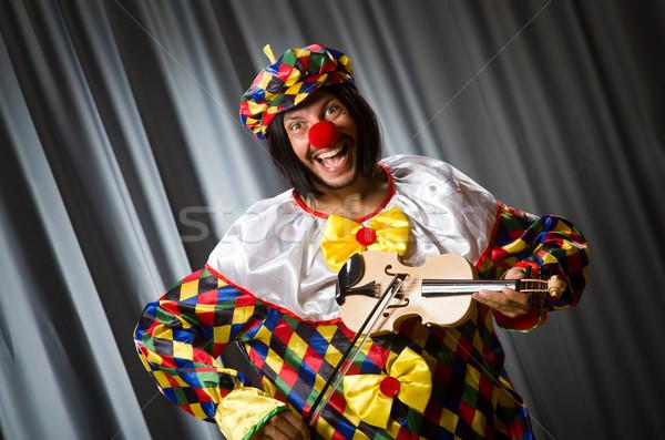 面白い ピエロ バイオリン カーテン 音楽 笑顔 ストックフォト © Elnur