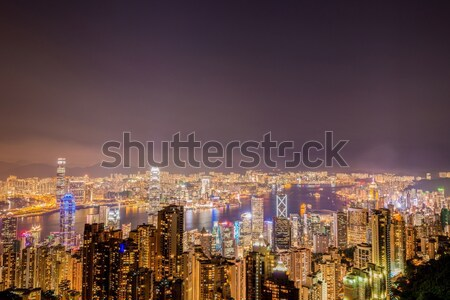 Hong Kong zonsondergang hemel gebouw stad Stockfoto © Elnur