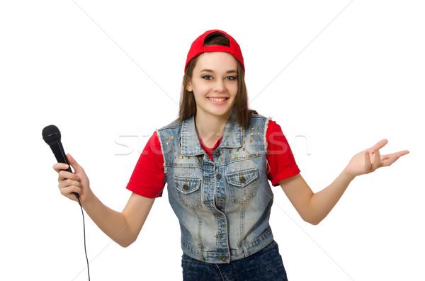 Zdjęcia stock: Dość · dziewczyna · karaoke · odizolowany · biały · kobieta
