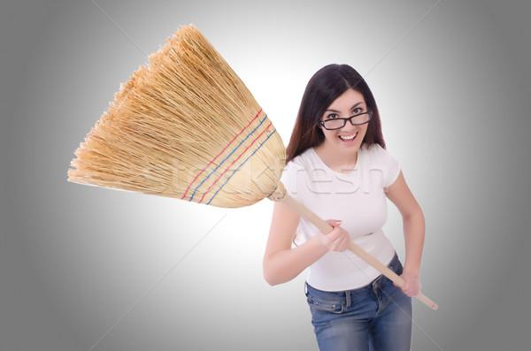 Mulher jovem vassoura branco trabalhar casa trabalhador Foto stock © Elnur