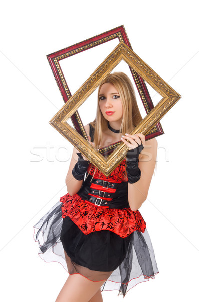 Woman holding picture frame isolated on white Stock photo © Elnur