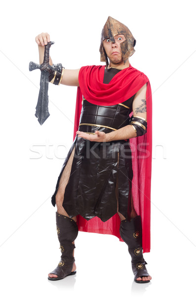 Gladiator holding sword isolated on white Stock photo © Elnur