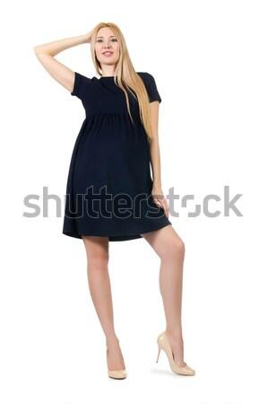 молодые Lady элегантный черное платье изолированный белый Сток-фото © Elnur