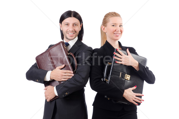 Stock photo: Businessman and businesswoman with briefcases isolated on white