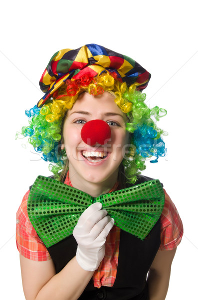 Homme clown isolé blanche fille sourire Photo stock © Elnur