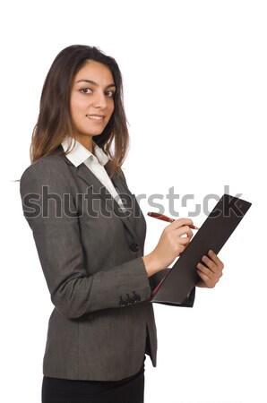 ストックフォト: 女性実業家 · 孤立した · 白 · ビジネス · 紙 · 少女
