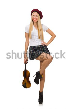 Woman playing violin isolated on white Stock photo © Elnur
