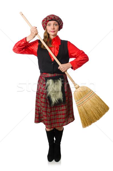 Komik kadın giyim süpürge adam çanta Stok fotoğraf © Elnur
