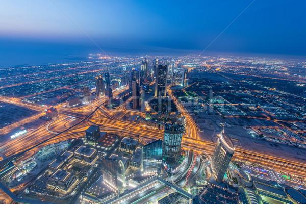 Stock fotó: Panoráma · éjszaka · Dubai · naplemente · üzlet · iroda