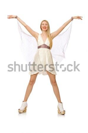 Donna indossare abito bianco isolato bianco ragazza Foto d'archivio © Elnur