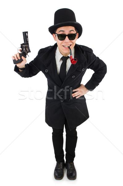 молодые детектив черный пальто пистолет Сток-фото © Elnur
