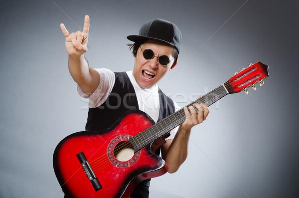 Grappig gitarist musical muziek gitaar disco Stockfoto © Elnur