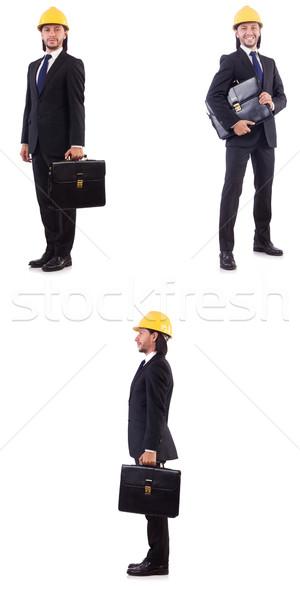 Jovem arquiteto capacete de segurança branco negócio Foto stock © Elnur