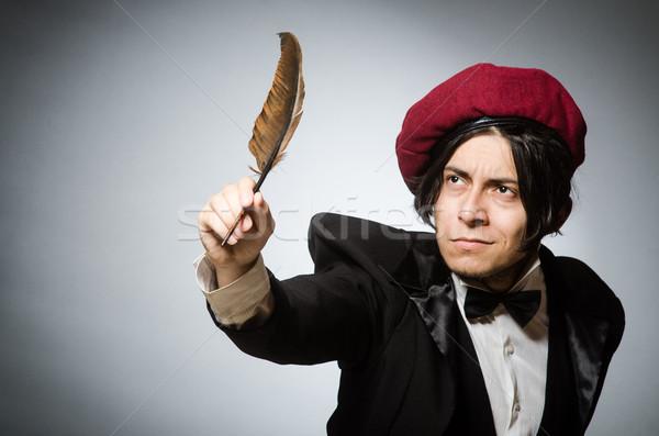 Komik yazar bağbozumu kâğıt el adam Stok fotoğraf © Elnur