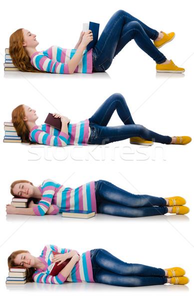 Młodych student książek odizolowany biały kobieta Zdjęcia stock © Elnur