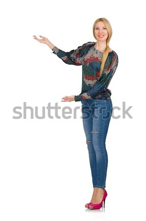 Tall blond hair model posing in blue jeans isolated on white Stock photo © Elnur