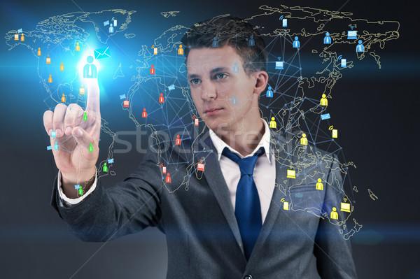 Stok fotoğraf: Sosyal · ağlar · çevrimiçi · bilgisayar · Internet · adam · soyut