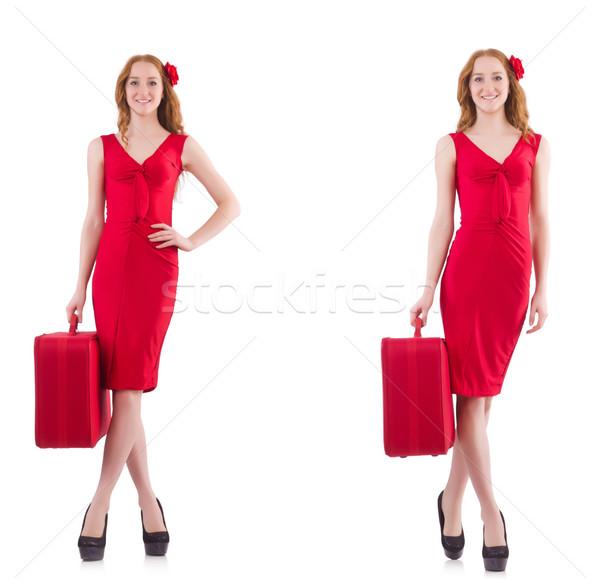 Genç kadın kırmızı elbise bavul yalıtılmış beyaz mutlu Stok fotoğraf © Elnur