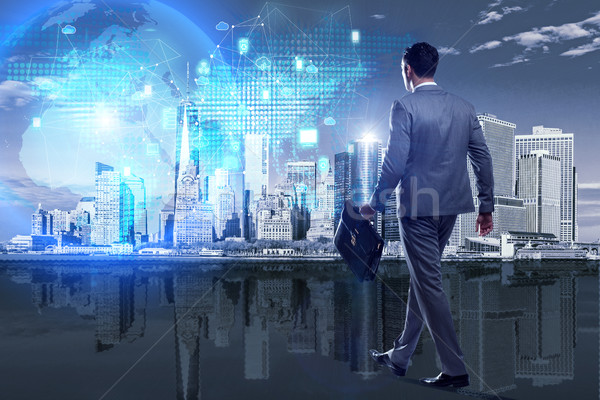The businessman walking in cloud computing concept Stock photo © Elnur