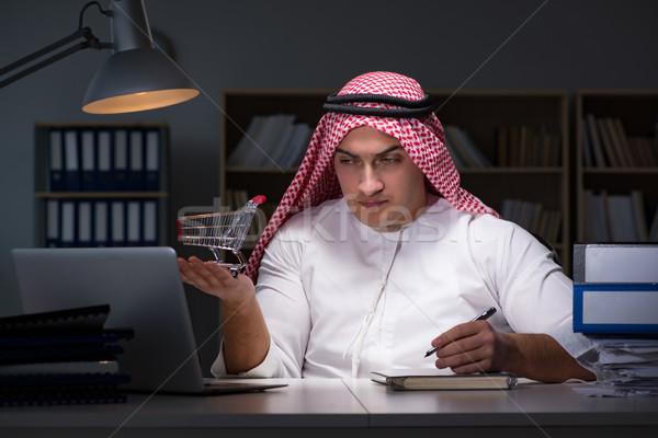 Arab üzletember dolgozik késő iroda üzlet Stock fotó © Elnur