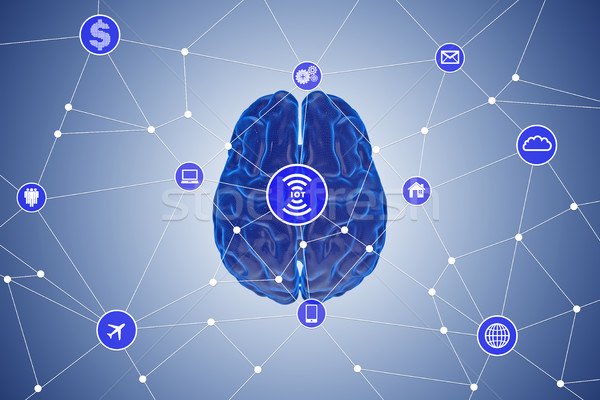 The artificial intelligence concept with brain 3d rendering Stock photo © Elnur