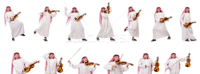 Arab man playing violing on white Stock photo © Elnur