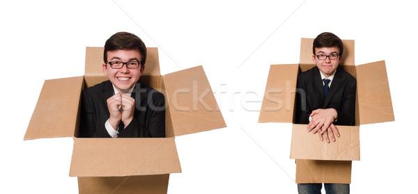 Grappig man dozen geïsoleerd witte business Stockfoto © Elnur