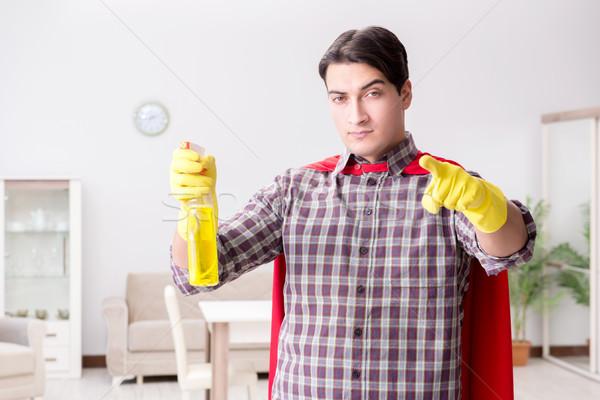 Süper kahraman temizleyici ev işi adam çalışma hizmet Stok fotoğraf © Elnur