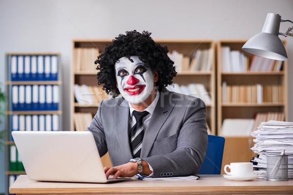клоуна бизнесмен рабочих служба человека ноутбука Сток-фото © Elnur