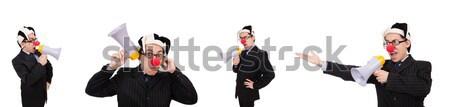 üzletember bohóc vicces izolált fehér boldog Stock fotó © Elnur
