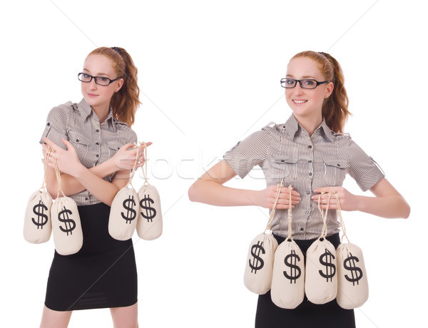 Collage of young businesswoman with money sacks on white Stock photo © Elnur