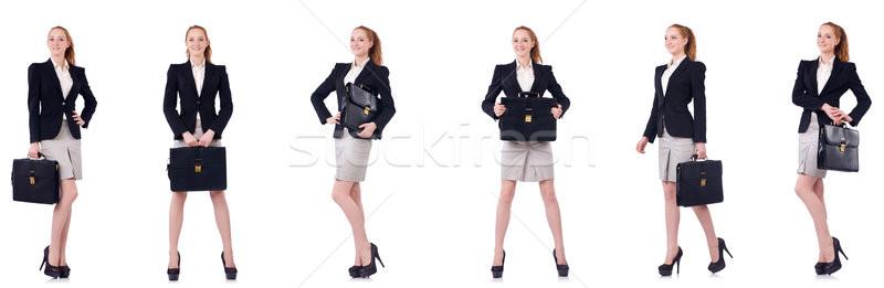 деловая женщина портфель изолированный белый девушки работу Сток-фото © Elnur