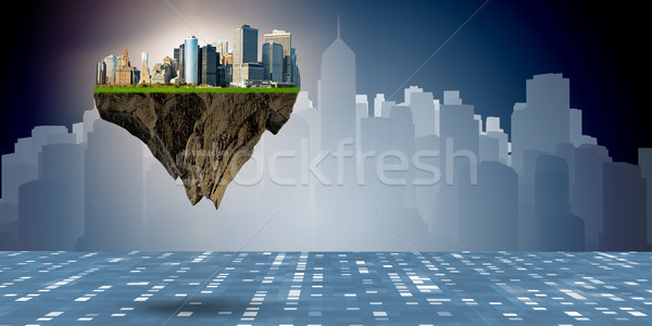 Floating city in urban planning concept Stock photo © Elnur