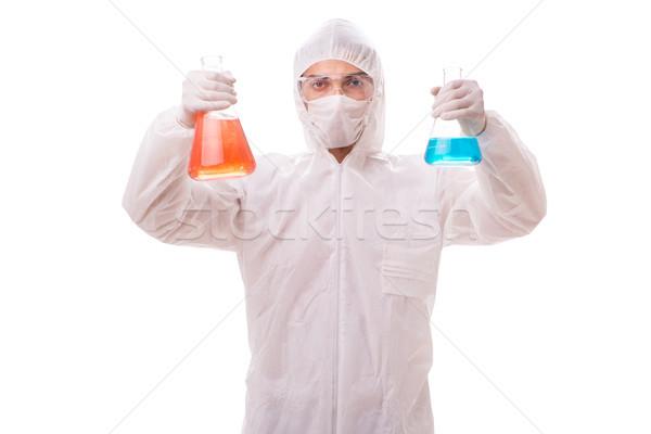 Químico de trabajo radioactivo aislado blanco hombre Foto stock © Elnur