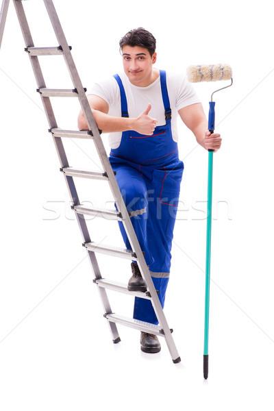 小さな 画家 男 はしご 孤立した 白 ストックフォト © Elnur