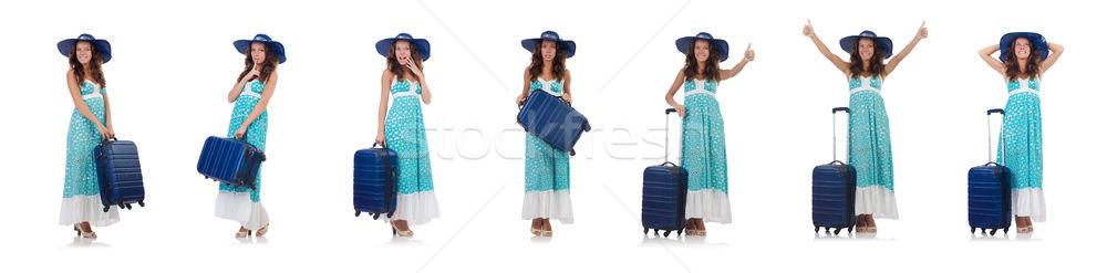 女性 旅人 スーツケース 孤立した 白 ビーチ ストックフォト © Elnur