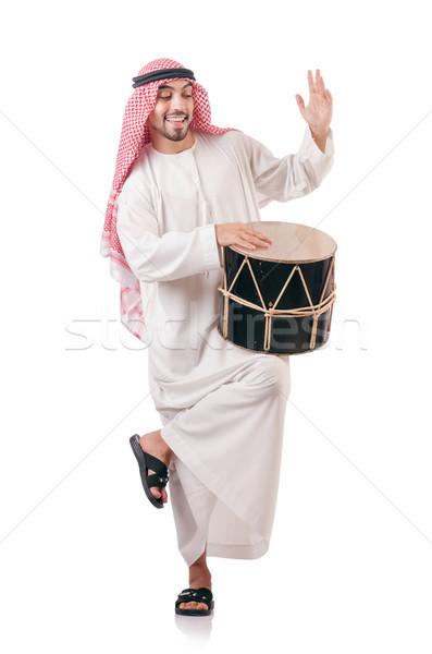 Arab man spelen trommel geïsoleerd witte Stockfoto © Elnur