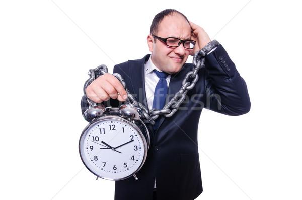 Imprenditore clock isolato bianco ufficio uomo Foto d'archivio © Elnur