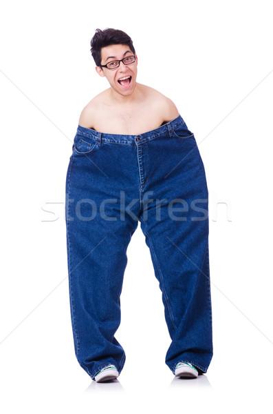 Divertente uomo pantaloni isolato bianco salute Foto d'archivio © Elnur
