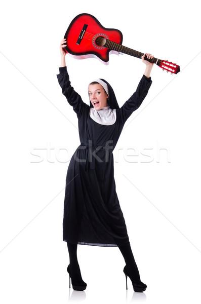 Zakonnica gry gitara odizolowany biały muzyki Zdjęcia stock © Elnur