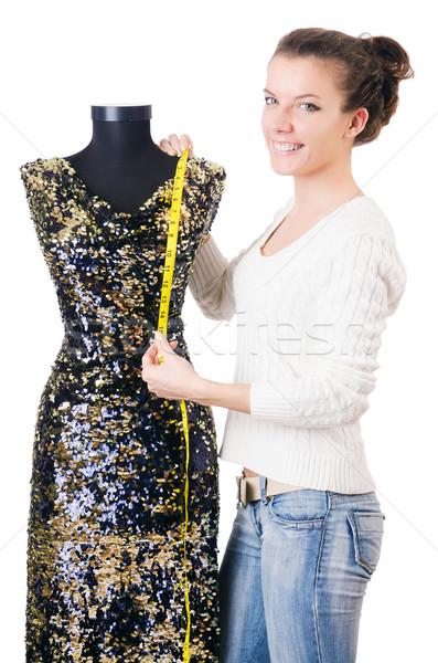 Kadın terzi çalışma elbise moda çalışmak Stok fotoğraf © Elnur