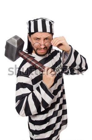 Badly bruised prisoner with gun Stock photo © Elnur
