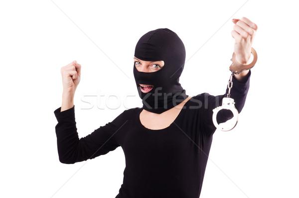 Fiatal női bűnöző bilincs nő háttér Stock fotó © Elnur