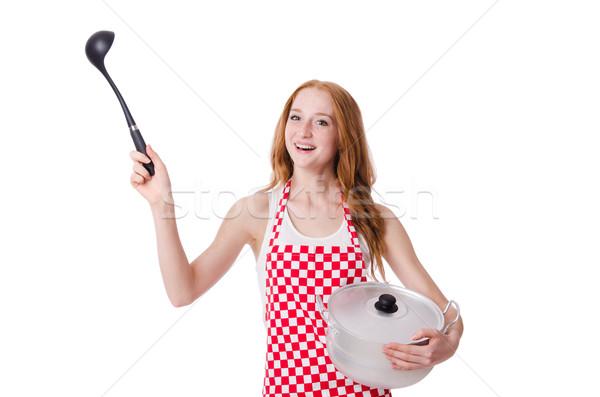 Genç kadın pişirmek yalıtılmış beyaz gıda eğlence Stok fotoğraf © Elnur