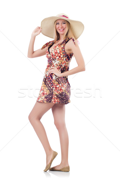 Beautiful woman in summer dress isolated on white Stock photo © Elnur