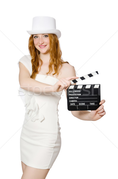 Young woman with movie board on white Stock photo © Elnur